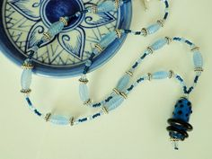 Cool Blue Glass Beaded Necklace, Lampworked Glass Focal Bead, Glass Bead Pendant Necklace by BlueRidgeBijoux on Etsy