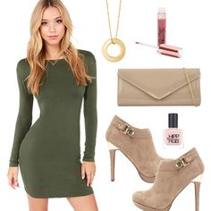 Olive Green Bodycon Dress shared by PrettyPrincess. Collage Outfits, Fashion Collage, Teen Fashion Blog, Khaki Green Dress, Dress Me Up, Sexy Dresses, Olive Green, Soft Autumn, Warm Spring