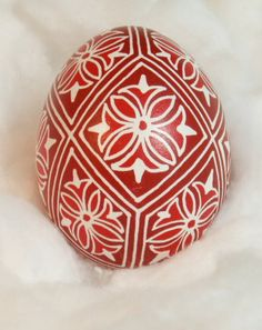 Shades of red pysanka