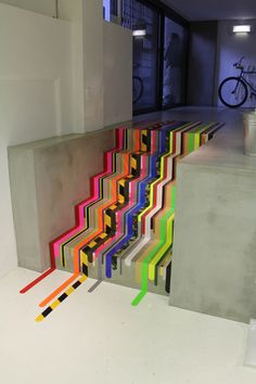 duct tape stairs in multi color design...freakin awesome!