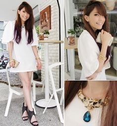 White Dress In Retro Style, Laurel Wreath Bracelets, Buccal Stone Tiger Necklace, Yves Saint Laurent Ysl Pouch, Leather Heeled Shoe Boots