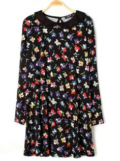 black long sleeve lapel floral print dress