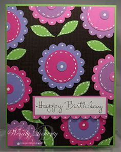 bright and pretty handmade birthday card ... luv the colors used for the punched & layered flowers ... pop on black ... Stampin' Up!