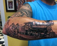 Locomotive Train Tattoos For Men Across Outer Forearm Outer Forearm Tattoo, Forearm Tattoos, Body Art Tattoos, Sleeve Tattoos, Arabic Tattoos, Cowboy Tattoos, Western Tattoos, Vintage Tattoo Art, Train Tattoo