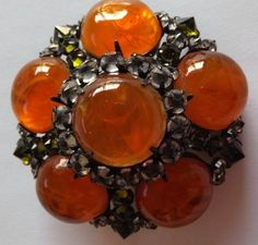 Schreiner Brooch - Amber Glass Cabochons and clear reverse set rhinestones Vintage Costume Jewelry, Vintage Costumes, Vintage Rhinestone, Vintage Brooches, Antique Jewelry, Vintage Jewelry, Christian Dior, Peridot Color, Hippie Jewelry