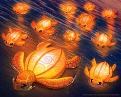 Lantern Turtles - Illustration by Cryptid-Creations on DeviantArt Cute Animal Drawings Kawaii, Cute Drawings, Animal Puns, Kawaii Doodles, Print Store, Creature Design, Cute Illustration, Cute Art, Lanterns