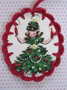 Christmas Tree Lady  Crochet Ornament / Gift Tag by ShoeFlower