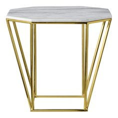 Bloomingville 'Metric' coffee table. The frame is in gold finish and the table top is in grey marble.