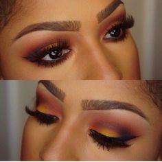 Gorgeous Sunset Eye Makeup for Brown Skin - Makeup for Brown Eyes