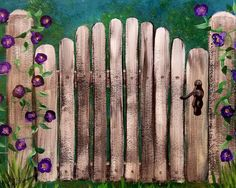 Rustic Garden Gate Wood Fence with Morning Glory Flowers FREE ACRYLIC PAINTING TUTORIAL ON YouTube #farmhousestyle #garden #gate #rusticdecor #flowers #morningglory #acrylicpaint #art #painting