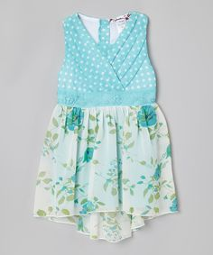 Look at this #zulilyfind! Light Blue Polka Dot Floral Hi-Low Dress - Toddler by Speechless #zulilyfinds