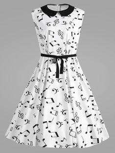 Plus Size Musical Notes Printed Collared Retro Dress - White Cute Fashion, Skirt Fashion, Fashion Dresses, Cheap Fashion, Pretty Outfits, Pretty Dresses, Beautiful Dresses, Robes Vintage, Vintage Dresses