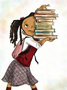 This is ME..right down to the books and hair..sans the back pack. I'd NEVER wear a pink back pack.. :/