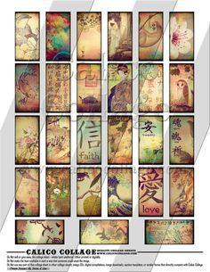 Oriental Ephemera 1 Digital Collage Sheet 1x2 by calicocollage