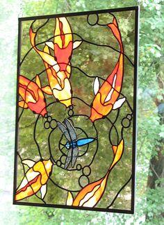 Koi Stained Glass Panel 2 by trilobiteglassworks by AislingH Dragonfly Stained Glass, Stained Glass Designs, Stained Glass Panels, Stained Glass Projects, Stained Glass Patterns, Leaded Glass, Stained Glass Art, Mosaic Art, Mosaic Glass