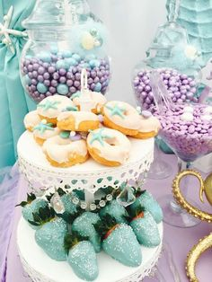 "Mermaids / Birthday ""Little Mermaid birthday party"" Summer Birthday, Baby Birthday, Birthday Parties Kids, Second Birthday Ideas, Mermaid Bridal Showers, Deco Buffet, Mermaid Theme Birthday, Mermaid Themed Party, Mermaid Birthday Decorations"