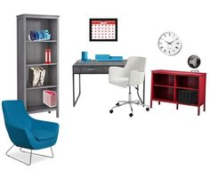 Office / Study space - grey - red - blue - white