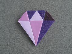 Purple Diamond Gem Brooch - Polymer Clay