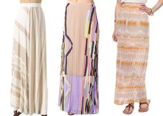 I've been toying with getting a maxi skirt. This middle one would be a bold move.