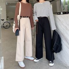 Korean Casual Outfits, Korean Outfit Street Styles, Casual Street Style, Cute Casual Outfits, Wide Leg Pants Street Style, Korean Ootd, Korean Style, Korean Girl Fashion, Fashion Mode