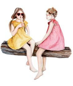 """SUMMER FROCKS - summer girls""  ~~  Freelance Art Illustrator ~Katie Rodgers~    August 01 2012"