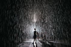 The Rain Room of MOMA. The room is not composed of traditional architectural material, but water - rain dropped from the ceiling. When people enter the room, the sensor on the ceiling could stop the rain, then create a space in the water volume, in other word, a room.