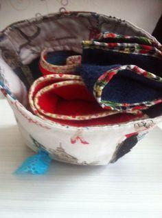 serviettes et pochon en coton fait par lilisapimce