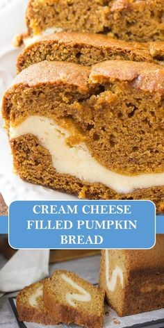 CReAM CHEESE FILLED PUMPKIN BREAD #yummy #food Bread Recipes, Baking Recipes, Chicken Recipes, Keto Reciepes, Cupcake Cakes, Cupcakes, Sunday Recipes, Forbidden Fruit, Cream Cheese Filling