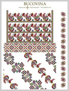 Semne Cusute: IA AIDOMA 010 - Bucovina, ROMANIA Cross Stitch Borders, Cross Stitch Flowers, Cross Stitch Patterns, Folk Embroidery, Embroidery Patterns, Embroidery Techniques, Beading Patterns, Pixel Art, Folk Art