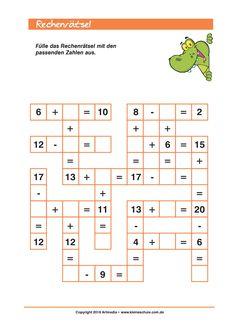 Rechnen Lernen Grundschule Add and Subtract up to 20 -puzzle for Class Mental Maths Worksheets, Maths Puzzles, Preschool Worksheets, Math Activities, 1st Grade Math, Kindergarten Math, Teaching Math, Math For Kids, Fun Math