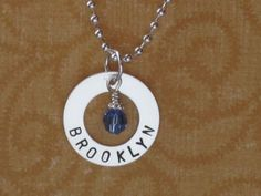Sterling Silver Washer Name Charm with by TheSterlingCharm on Etsy, $27.00