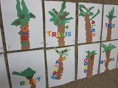 K name art w/chicka chicka chicka boom boom Kindergarten Names, Preschool Literacy, Kindergarten Activities, Preschool Activities, Preschool Names, Name Crafts, Letter A Crafts, Alphabet Activities, Art Activities