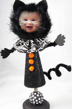 Personalized Black Cat Halloween Bobble Head (totally adorable!)