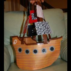 My sister made this!  She is so talented!  Pirate Ship. 100% Duct Tape