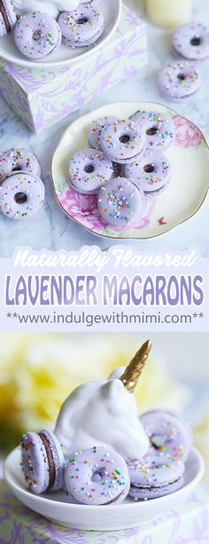 Naturally flavored lavender macarons in a donut shape. A delicate and aromatic lavender chocolate ganache filling is sandwiched in between two light purple macaron shells thare are infused with lavender buds making it extra flavorful.