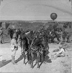 """ Lord Roberts' Army advancing toward Johannesburg, South Africa, This is a rare picture of a Military Balloon unit (the first I have ever seen). Military reconnaissance balloon with an escort. It took four carts to carry the gas tubes and one. Four Horses, British Army Uniform, Royal Engineers, War Photography, Rare Pictures, British Colonial, Military History, Vintage Photographs, First World"