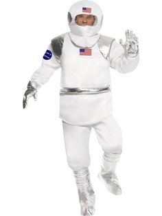 Become a space explorer with our Astronaut Space Suit Costume! This fantastic white and silver outfit features American flags on the top and helmet to create an authentic US astronaut look. Batman Fancy Dress, Astronaut Space Suit, White Costumes, Fancy Costumes, Super Hero Costumes, Adult Costumes, Spaceman Costume, Joker Costume, Carnival
