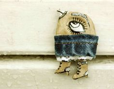 Paper mache Bird brooch In boots Brooch handmade Bird by dariAKAsh
