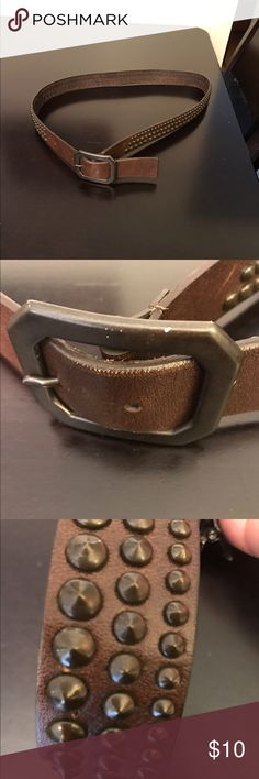 Large belt with bronze studs Cute belt I never wear. Brown leather with brass studs Accessories Belts