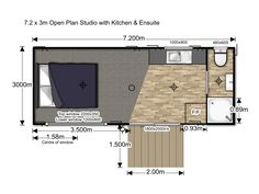Looking for an open plan self contained studio unit with kitchen and ensuite. Check out our portable home options available here at HouseMe Micro House, Tiny House, Portable Cabins, Holiday Park, Plan Design, Open Plan, Floor Plans, Home And Garden, The Unit