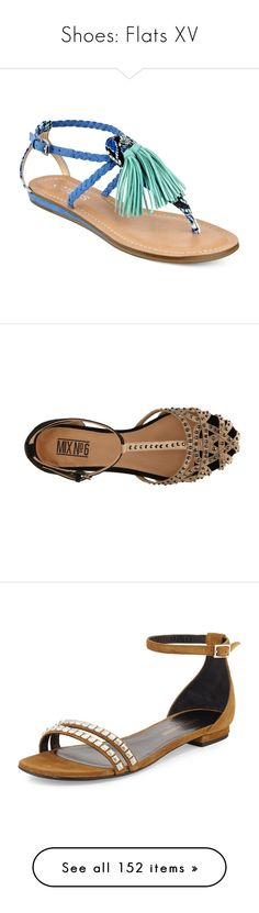 """""""Shoes: Flats XV"""" by jay-to-the-kay ❤ liked on Polyvore featuring balletflats, shoes, flats, loafers, flatsandals, sandals, blue multi, guess sandals, embellished flat sandals and bohemian sandals"""