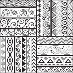 Tribal striped hand drawn seamless pattern. — Stock Vector ...