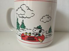 Vintage Camp Snoopy Woodstock Coffee Mug Cup Peanuts Knott's Charlie Brown