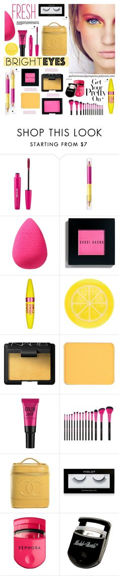 """Turn Around, Bright Eyes"" by palmtreesandpompoms ❤ liked on Polyvore featuring beauty, shu uemura, beautyblender, Bobbi Brown Cosmetics, Maybelline, claire's, NARS Cosmetics, Chanel, Inglot and Sephora Collection"