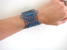 Laser cut leather cuff bracelet