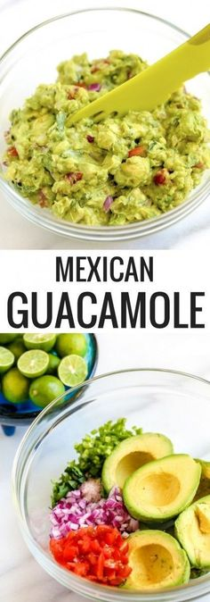 authentic mexican guacamole The avocados you use for this recipe should be perfectly ripe. Here's how to select the perfect avocado for guacamole: When a Haas avocado is under-ripe it is green in color and very firm Best Guacamole Recipe, Avocado Recipes, Guacamole Dip, Authentic Guacamole Recipe, Ceviche Recipe, Mexican Guacamole Recipe, Mexican Avocado, Homemade Guacamole, Vegan Recipes
