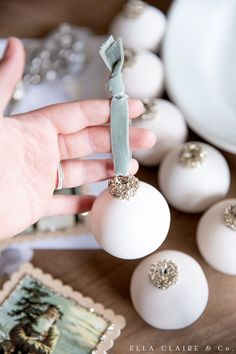 A quick and easy, elegant, vintage inspired DIY Christmas ornament with German glass glitter top and ceramic base accented with velvet ribbon. White Christmas Ornaments, Glitter Ornaments, Elegant Christmas, Vintage Ornaments, Glass Ornaments, Christmas Crafts, Diy Ornaments, Vintage Santas, Quick Diy Christmas Decorations