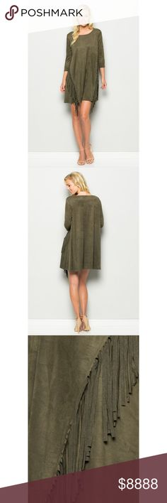 Faux Suede Olive Fringe Dress This beautiful dress should be in your closet for any upcoming parties! Dress features a shift dress body type, faux suede material, fringe accent and 3/4 sleeve length.  . . . If you would like to make an offer, please use the OFFER BUTTON. {10% discount on all 2+ orders} . . FOLLOW US✌️ Insta : shop.likenarly Facebook: likenarly Website : likeNarly.com likeNarly Dresses