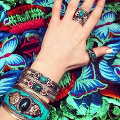 ॐ Jungle Inspired in Turquoise & Green ॐ Check out our website for more at www.ohmboho.com ☮ #ohmboho #jewellery #jewelry #bracelet #ring #turquoise #tibetan #silver #mosaic #boho #bohemian #hippy #hippie #ethnic #gypsy #native #indie #inspiration #style #fashion
