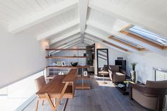 Minimal home office with neutral color scheme [Design: Arch. Ron Aviv]